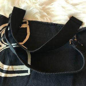 BCBGMaxAzria Bags - BCBGMaxAzria Black Canvas Tote Logo 100% Cotton